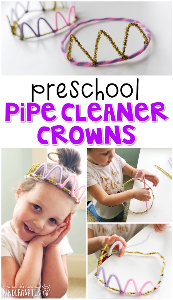 This pipe cleaner crown was a fun way to create our own dramatic play accessories and work on fine motor skills. Great for a fairy tale theme in tot school, preschool, or even kindergarten!