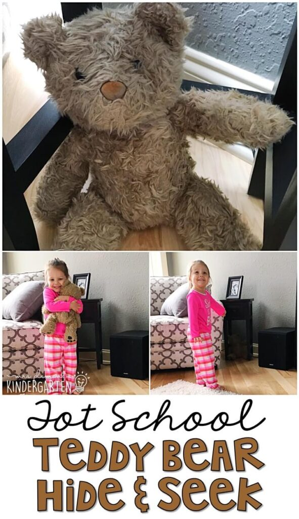 Learning is more fun when it involves movement! This teddy hide and seek gross motor activity got us up and moving all around the house. Great for a bear theme in tot school, preschool, or even kindergarten!