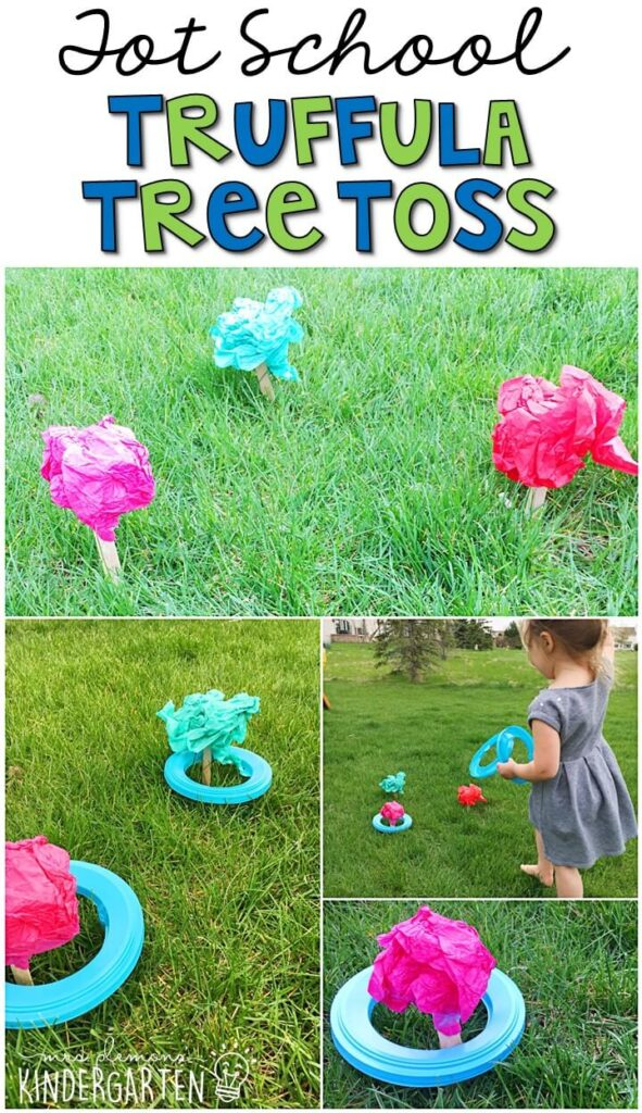 Learning is more fun when it involves movement! Practice throwing with this truffula tree toss gross motor activity. Great for an Earth Day theme in tot school, preschool, or even kindergarten!