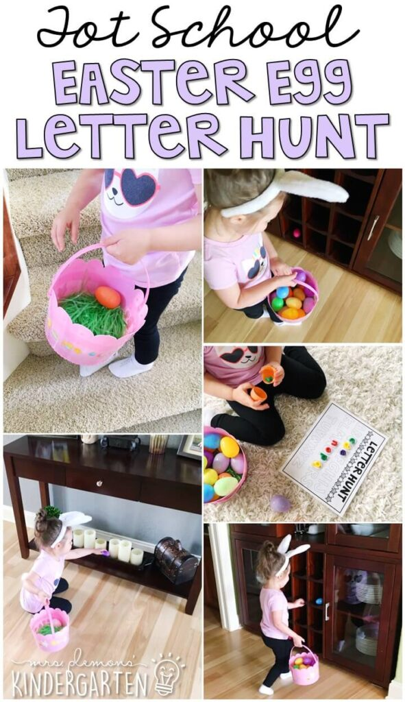 Learning is more fun when it involves movement! Go on an Easter egg hunt for letters with this fun themed letter hunt. Great for tot school, preschool, or even kindergarten!