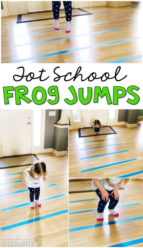 Learning is more fun when it involves movement! Practice hopping from line to line with this frog jump gross motor activity. Great for a frog theme in tot school, preschool, or even kindergarten!