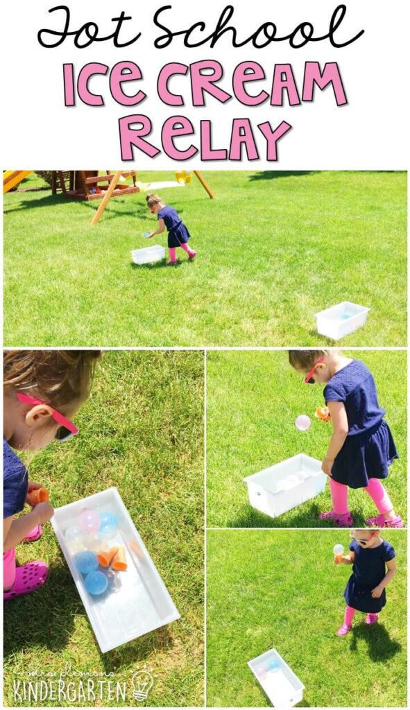 Learning is more fun when it involves movement! This ice cream relay gross motor activity got us up and moving and could also be used to practice sorting. Great for an ice cream theme in tot school, preschool, or even kindergarten!