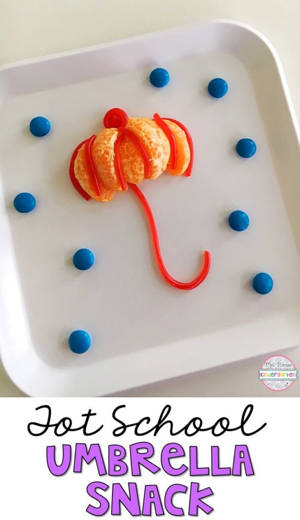 This umbrella snack is perfect for an It's Raining, It's Pouring nursery rhyme theme in tot school, preschool, or kindergarten!