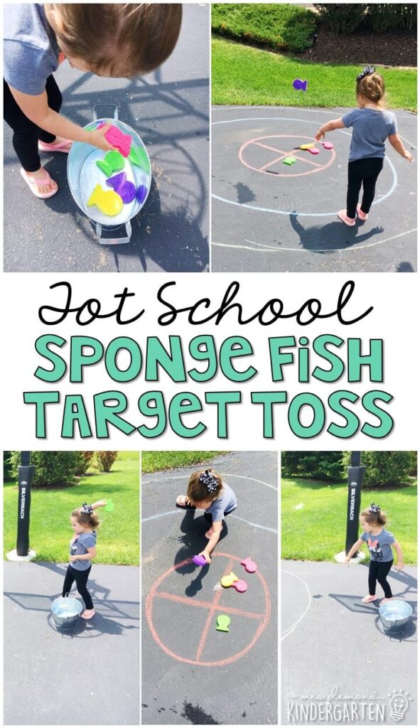 Learning is more fun when it involves movement! We had a blast throwing and splashing with this sponge fish target toss gross motor activity! Great for an ocean theme in tot school, preschool, or even kindergarten!