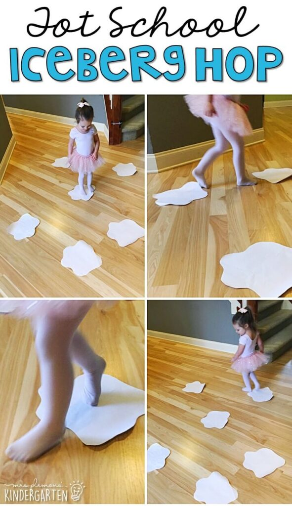 Learning is more fun when it involves movement! Practice walking, running, hopping on two feet, hopping on one foot, tiptoeing, and skating with this iceberg hop gross motor activity. Great for winter in tot school, preschool, or even kindergarten!
