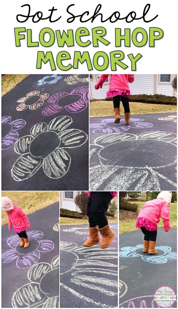Learning is more fun when it involves movement! Practice stomping, running, jumping, and identifying colors with this flower hop memory gross motor activity. Great for a plant theme in tot school, preschool, or even kindergarten!