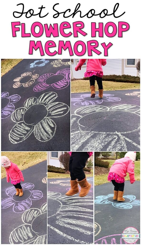 Learning is more fun when it involves movement! Practice stomping, running, jumping, and identifying colors with this flower hop memory gross motor activity. Great for a spring theme in tot school, preschool, or even kindergarten!