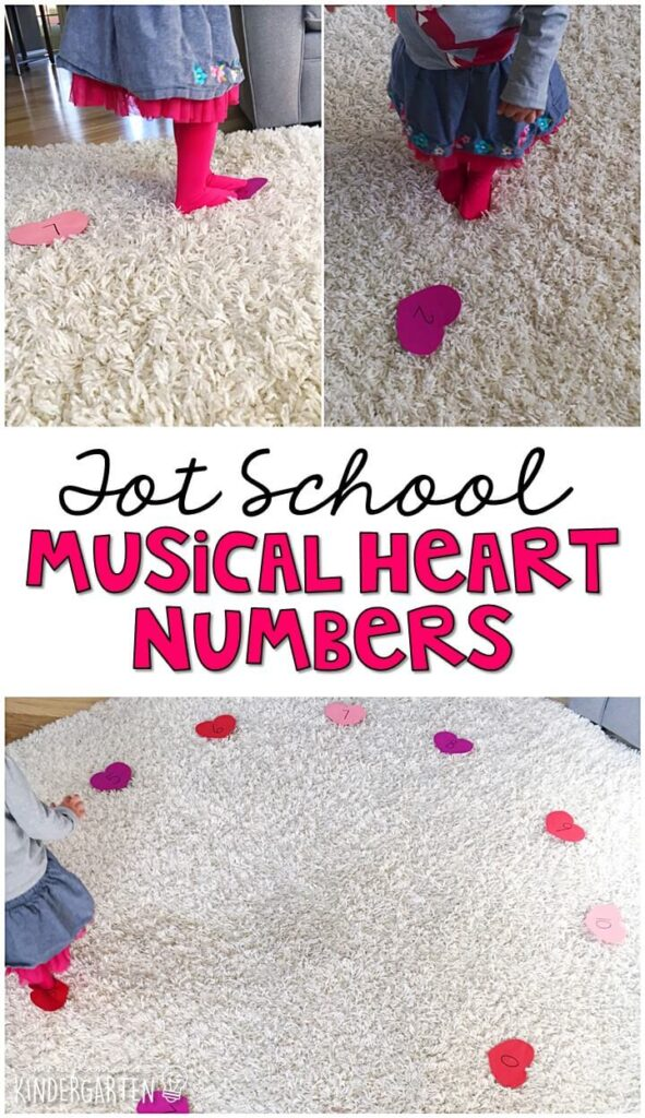 Learning is more fun when it involves movement! Our Musical Heart Numbers gross motor activity was a fun way to practice numbers and gross motor skills all at the same time. Great for a valentine's theme in tot school, preschool, or even kindergarten!