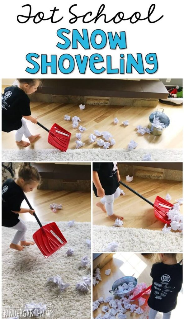 Learning is more fun when it involves movement! This snow shoveling activity was an easy and fun gross motor activity for our winter theme. Great for tot school, preschool, or even kindergarten!