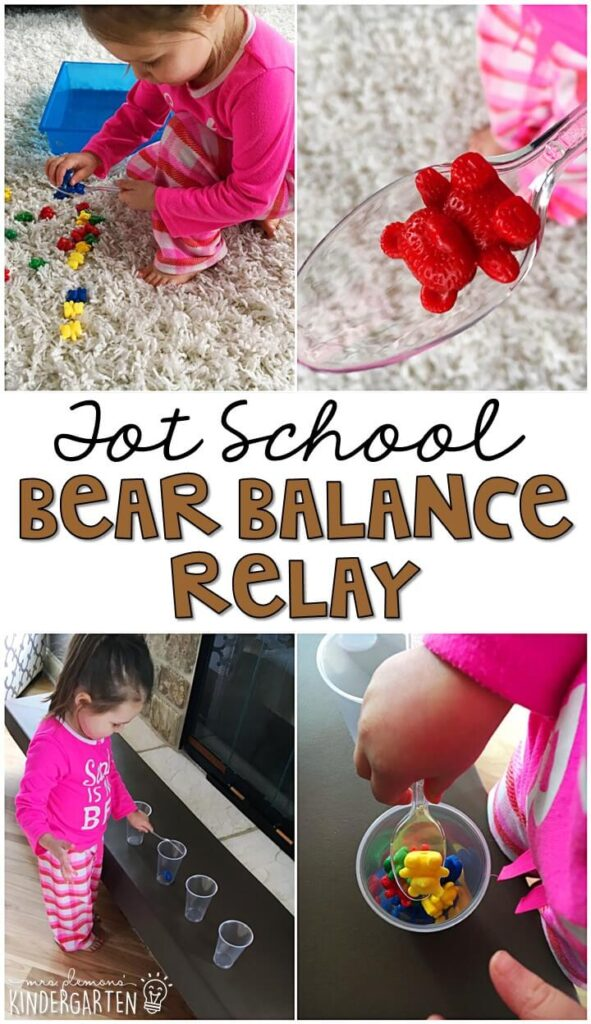 Learning is more fun when it involves movement! Practice balance and control with this bear balance gross motor activity. Great for a bear theme in tot school, preschool, or even kindergarten!