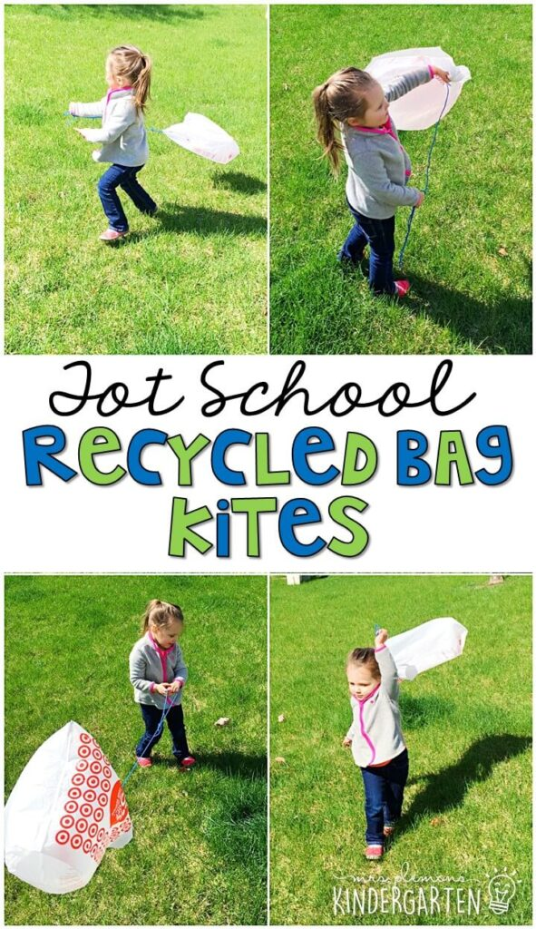Learning is more fun when it involves movement! Practice running and flying a kite with this recycled bag kite gross motor activity. Great for Earth Day in tot school, preschool, or even kindergarten!