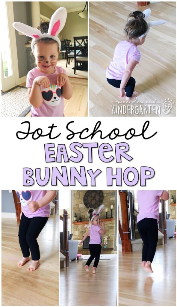Learning is more fun when it involves movement! Practice hopping from line to line with this bunny hop gross motor activity. Great for Easter in tot school, preschool, or even kindergarten!