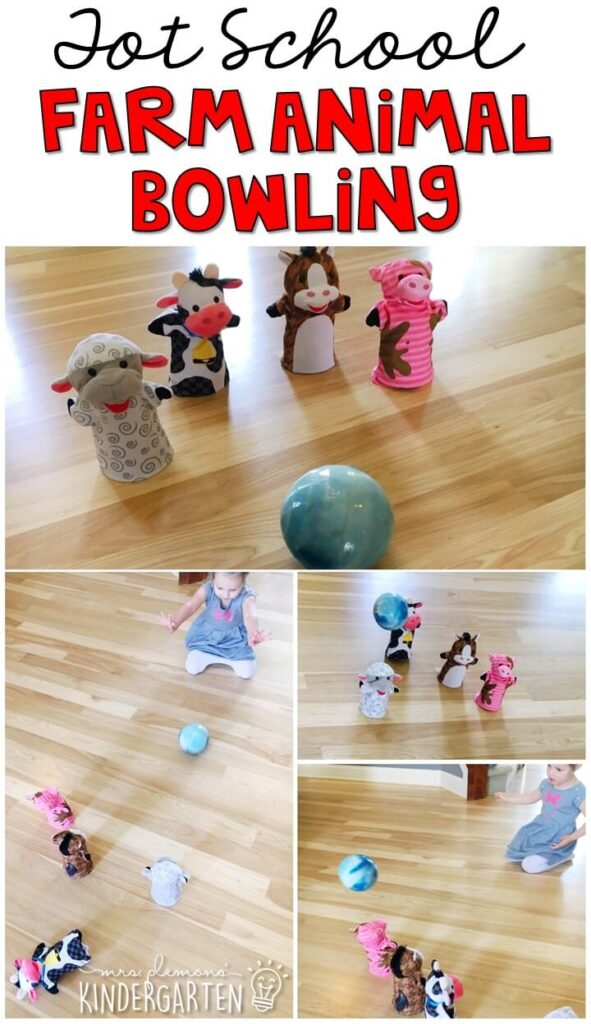 Learning is more fun when it involves movement! Practice rolling a ball with this farm animal bowling gross motor activity. Great for a farm theme in tot school, preschool, or even kindergarten!