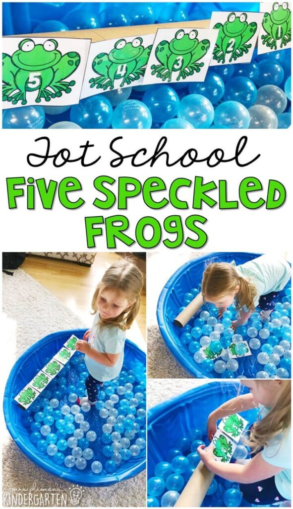 Learning is more fun when it involves movement! We had a blast acting out the five little speckled frogs rhyme with this gross motor activity. Great for a frog theme in tot school, preschool, or even kindergarten!