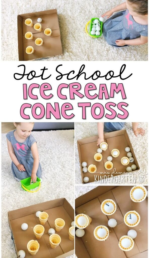 Learning is more fun when it involves movement! Practice aiming and tossing balls in this ice cream cone toss gross motor activity. Great for an ice cream theme in tot school, preschool, or even kindergarten!