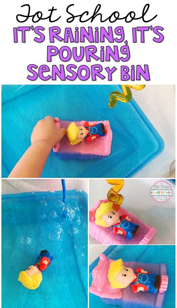 We LOVE this It's Raining, It's Pouring sensory bin. Water sensory bins are so engaging and fun to explore! Great for a nursery rhyme theme in tot school, preschool, or even kindergarten!