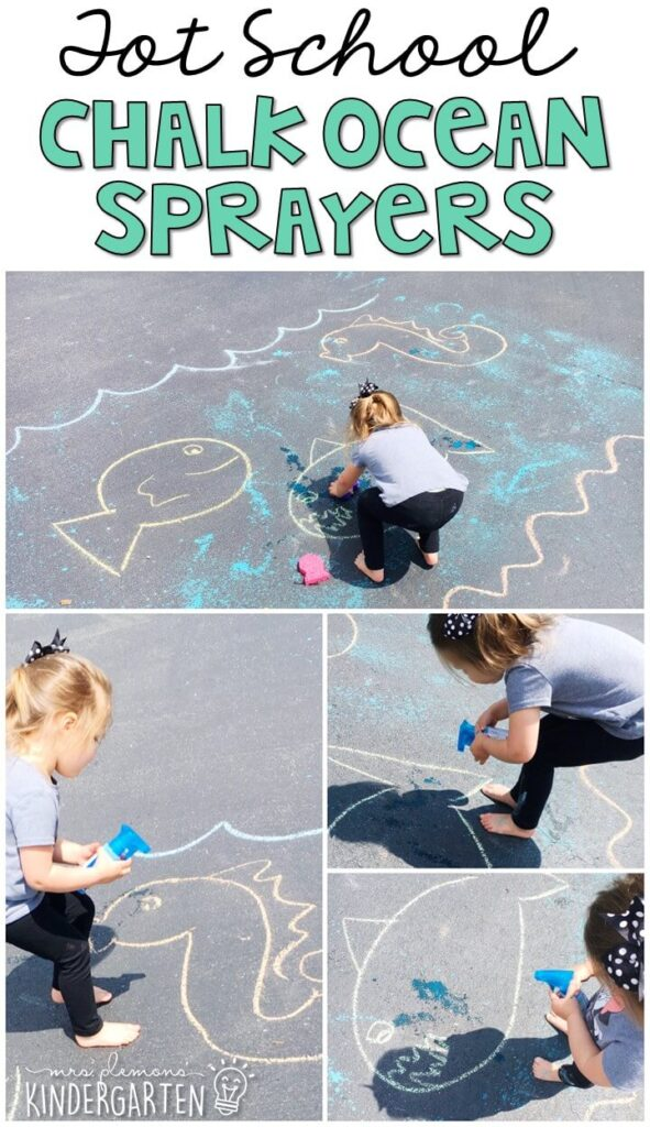 Learning is more fun when it involves movement! We had so much fun creating this giant ocean with chalk sprayers. Great for an ocean theme in tot school, preschool, or even kindergarten!