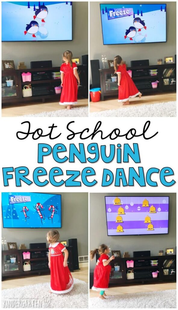 Learning is more fun when it involves movement! Practice moving like a penguin and other fun winter themed items with this Penguin Freeze Dance. Great for tot school, preschool, or even kindergarten!