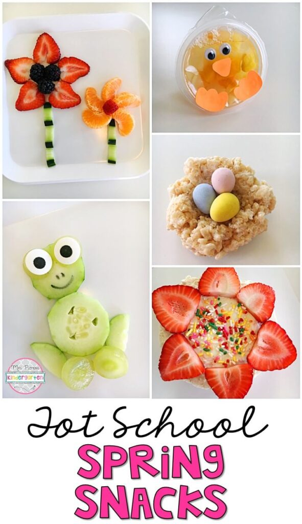 These yummy snacks are perfect for a spring theme in tot school, preschool, or kindergarten!