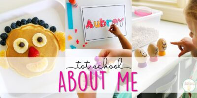 Tons of all about me themed activities and ideas. Weekly plan includes books, fine motor, gross motor, sensory bins, snacks and more! Perfect for back to school in tot school, preschool, or kindergarten.