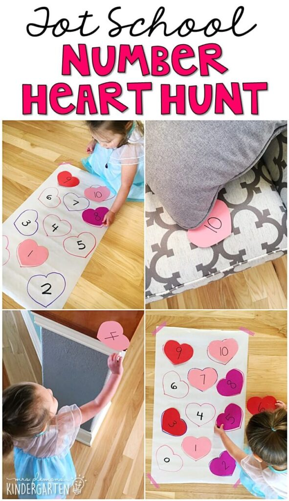 Learning is more fun when it involves movement! This heart scavenger hunt was the perfect way to get moving while working on number identification. Great for a valentine's theme in tot school, preschool, or even kindergarten!