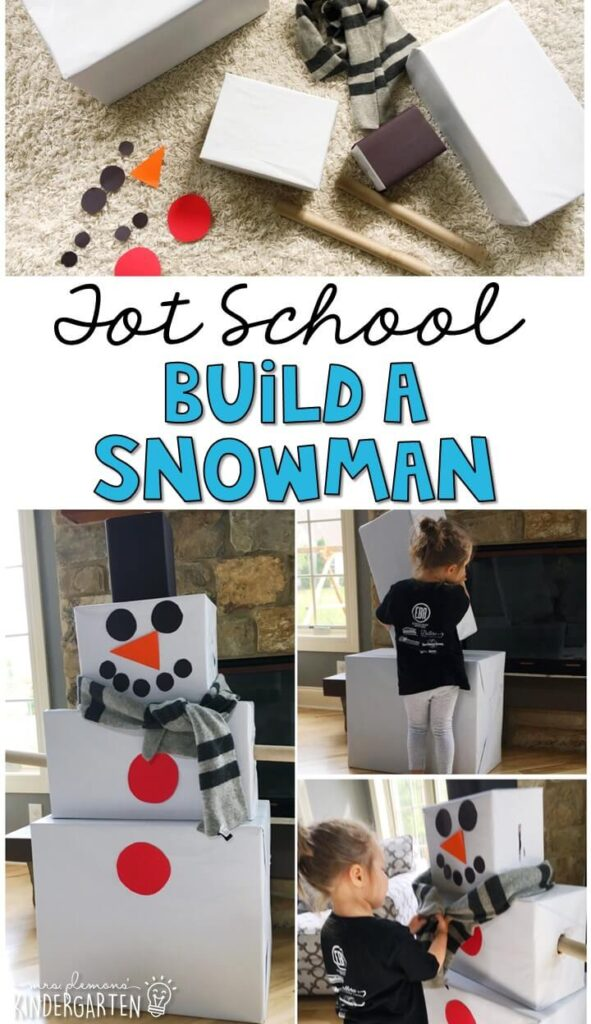 Practice building, stacking and pretending with this giant build a snowman gross motor activity. Great for a winter theme in tot school, preschool, or even kindergarten!