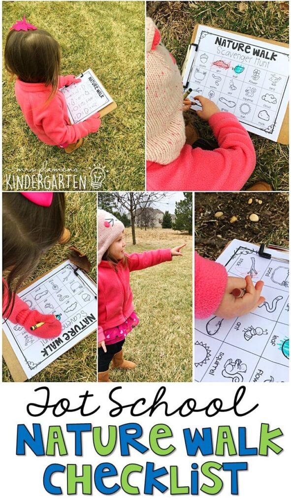 Learning is more fun when it involves movement! This nature walk checklist was a nice way to get outside for our Earth Day theme. Great for tot school, preschool, or even kindergarten!
