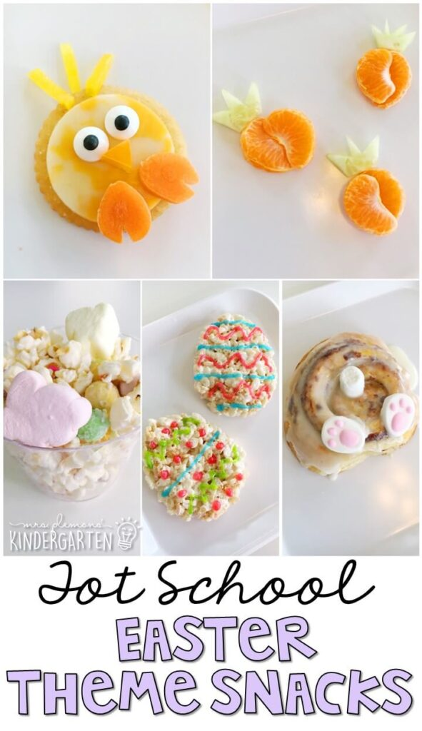 These yummy snacks are perfect for an Easter theme in tot school, preschool, or kindergarten!