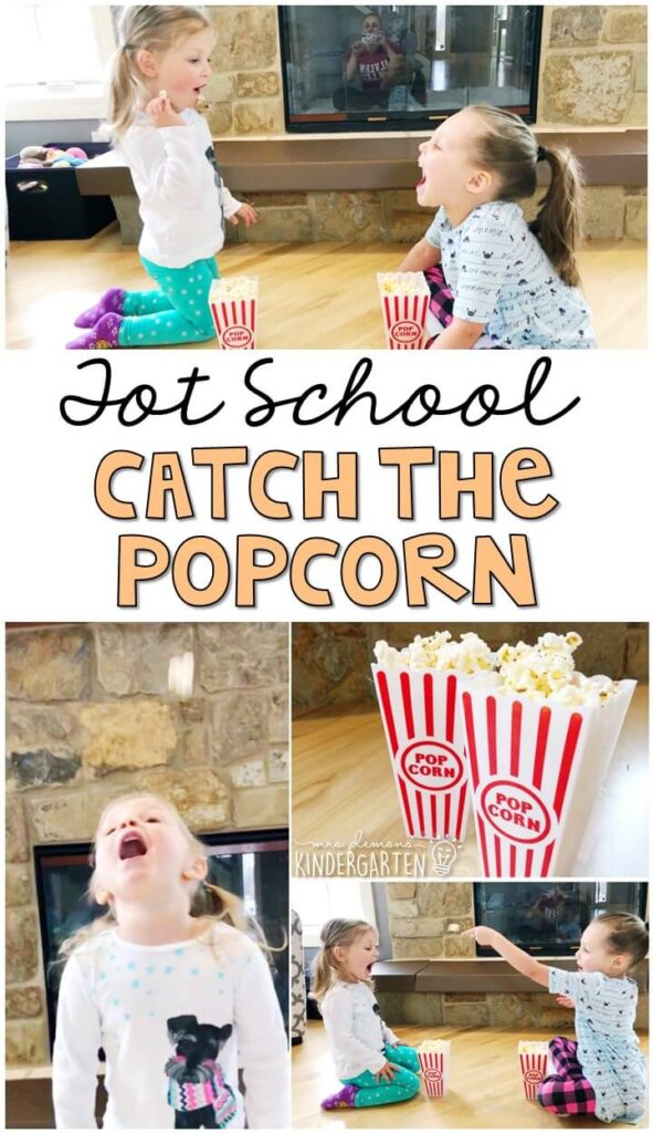Learning is more fun when it involves movement! Have fun with this catch the popcorn gross motor activity. Great for a five senses theme in tot school, preschool, or even kindergarten!