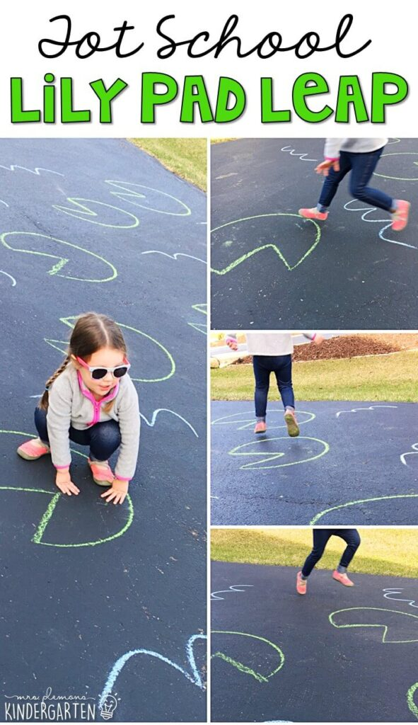 Learning is more fun when it involves movement! Practice stomping, jumping, and hopping with this lily pad leap gross motor activity. Great for a frog theme in tot school, preschool, or even kindergarten!