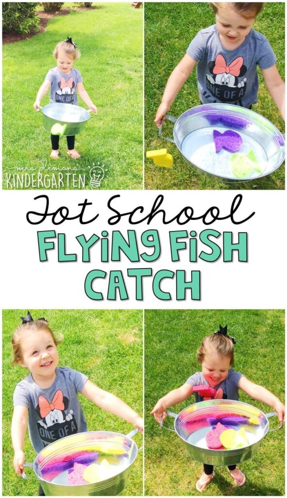 Learning is more fun when it involves movement! We had a blast throwing, catching and splashing with this flying fish catch gross motor activity! Great for an ocean theme in tot school, preschool, or even kindergarten!