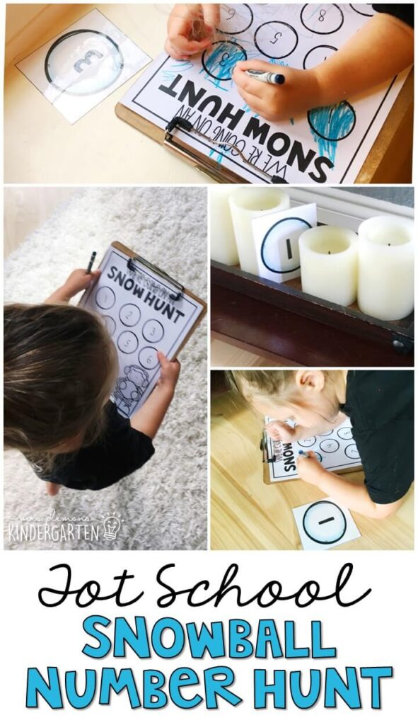 Learning is more fun when it involves movement! Practice number identification with this fun snowball scavenger hunt gross motor activity. Great for a winter theme in tot school, preschool, or even kindergarten!