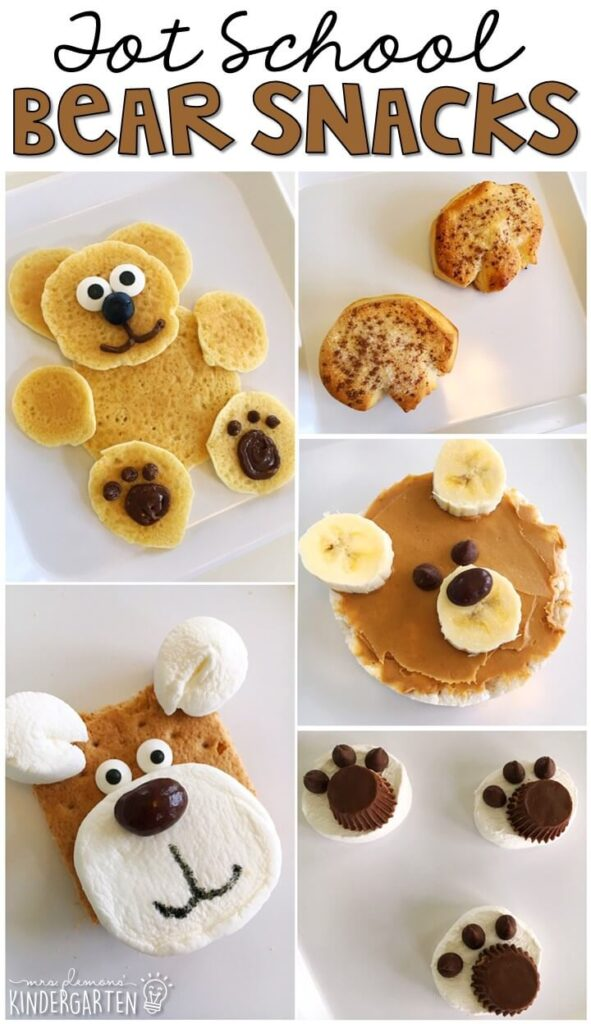 These yummy snacks are perfect for a bear theme in tot school, preschool, or kindergarten!