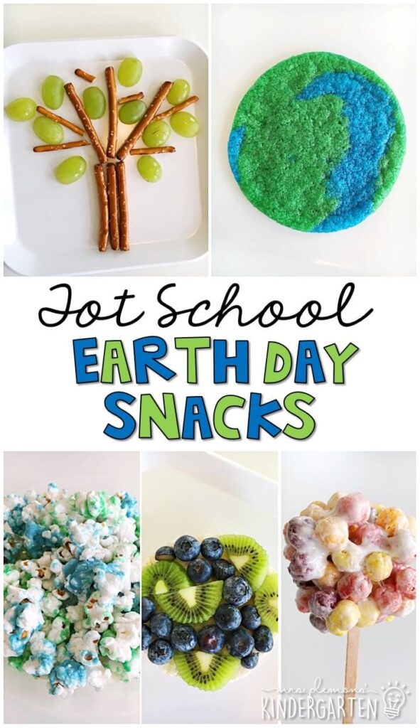 These yummy snacks are perfect for an Earth Day theme in tot school, preschool, or kindergarten!