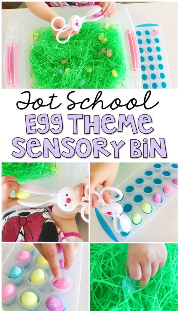 We LOVE this egg theme sensory bin. So many fun pieces to sort, play and explore with! Great for and Easter theme in tot school, preschool, or even kindergarten!