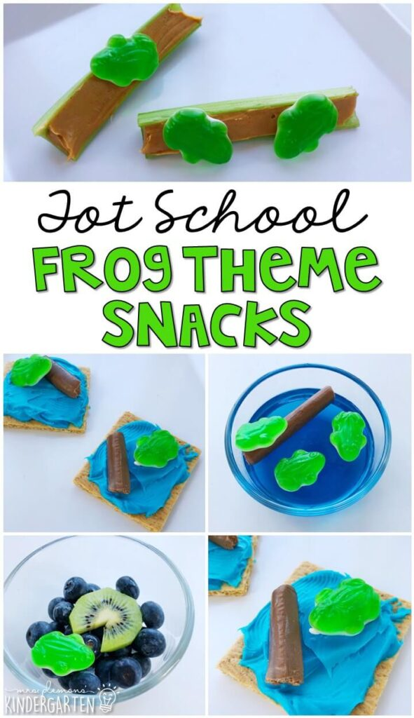 These yummy snacks are perfect for a frog theme in tot school, preschool, or kindergarten!