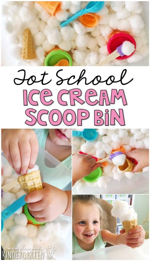 We LOVE this ice cream scooping sensory bin. So much fun to play with and explore. Great for an ice cream theme in tot school, preschool, or even kindergarten!