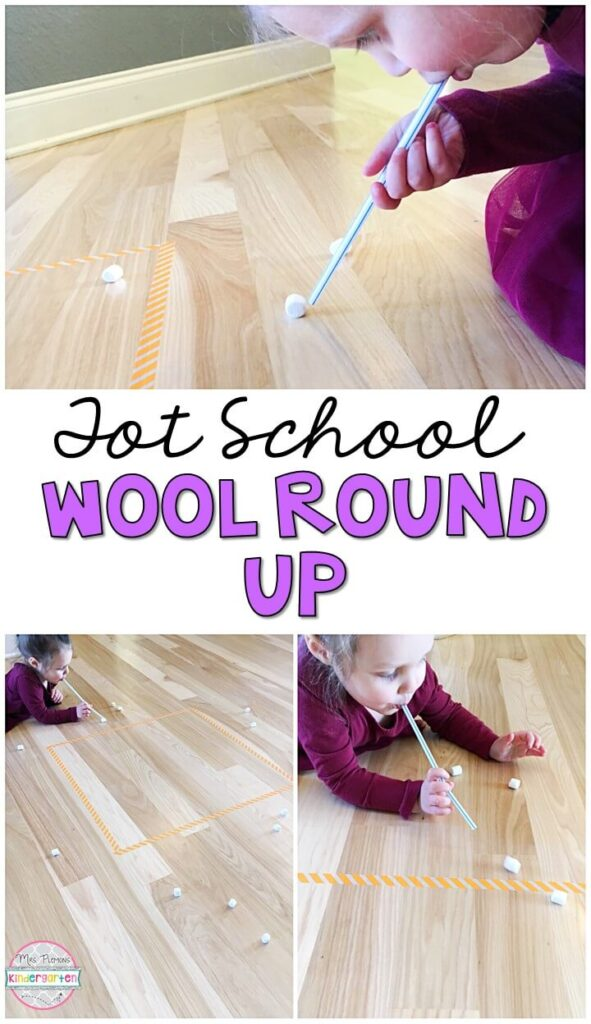 Learning is more fun when it involves movement! This wool round up was a fun activity that paired perfectly with our mary had a little lamb theme. Great for a nursery rhyme theme in tot school, preschool, or even kindergarten!