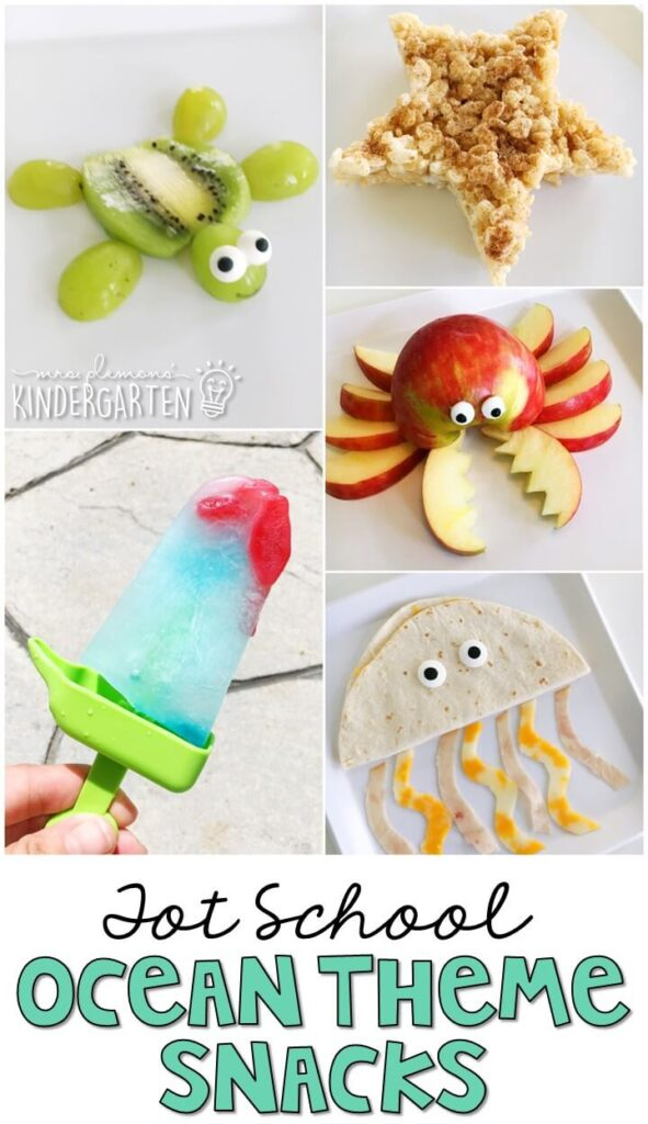 These yummy snacks are perfect for an ocean theme in tot school, preschool, or kindergarten!