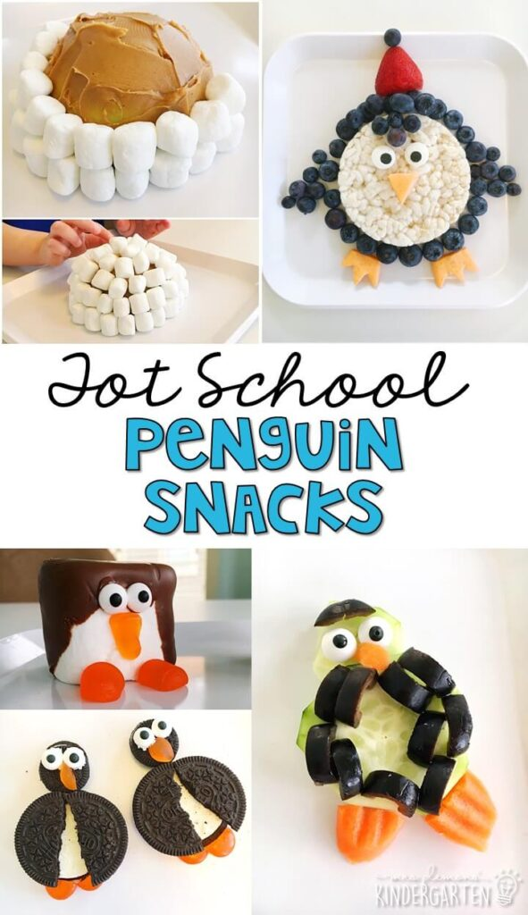 These yummy snacks are perfect for a penguin theme in tot school, preschool, or kindergarten!