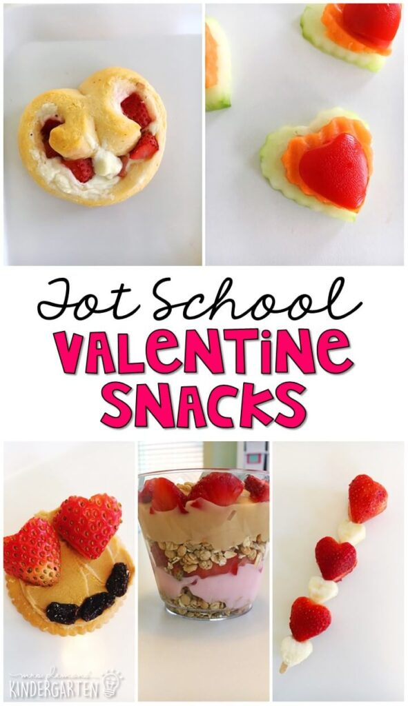 These yummy snacks are perfect for a valentine's theme in tot school, preschool, or kindergarten!