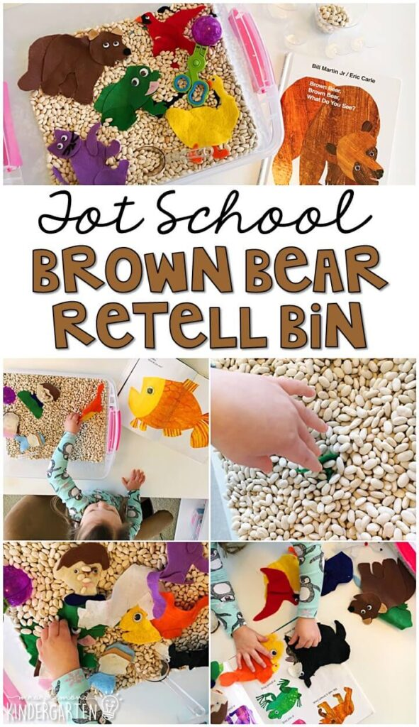 We LOVE this brown bear retell sensory bin. So much fun to explore with a bear theme! Great for tot school, preschool, or even kindergarten!