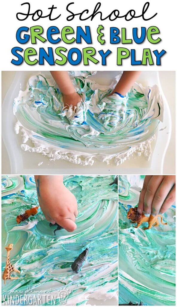 We LOVE this green and blue shaving cream sensory bin. Such a fun and messy way to explore with our Earth Day theme! Great for tot school, preschool, or even kindergarten!