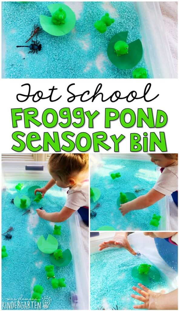 We LOVE this froggy pond sensory bin. So much fun to splash play and explore! Great for tot school, preschool, or even kindergarten!