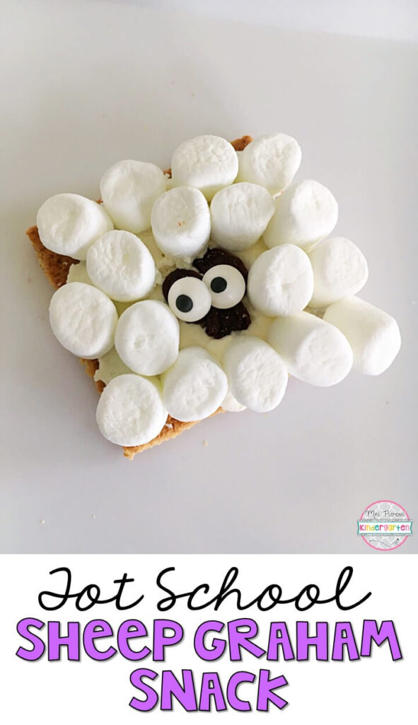 These yummy sheep graham cracker snacks are perfect for a Mary Had a Little Lamb nursery rhyme theme in tot school, preschool, or kindergarten!