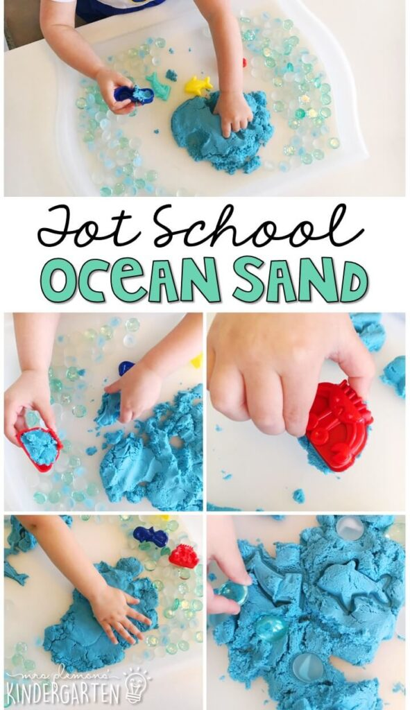 We LOVE this ocean kinetic sand sensory bin. So many fun pieces to play with and explore! Great for an ocean theme in tot school, preschool, or even kindergarten!