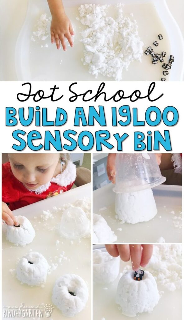 We LOVE this build an igloo sensory bin. Baking soda snow is so fluffy and fun to explore! Great for winter in tot school, preschool, or even kindergarten!