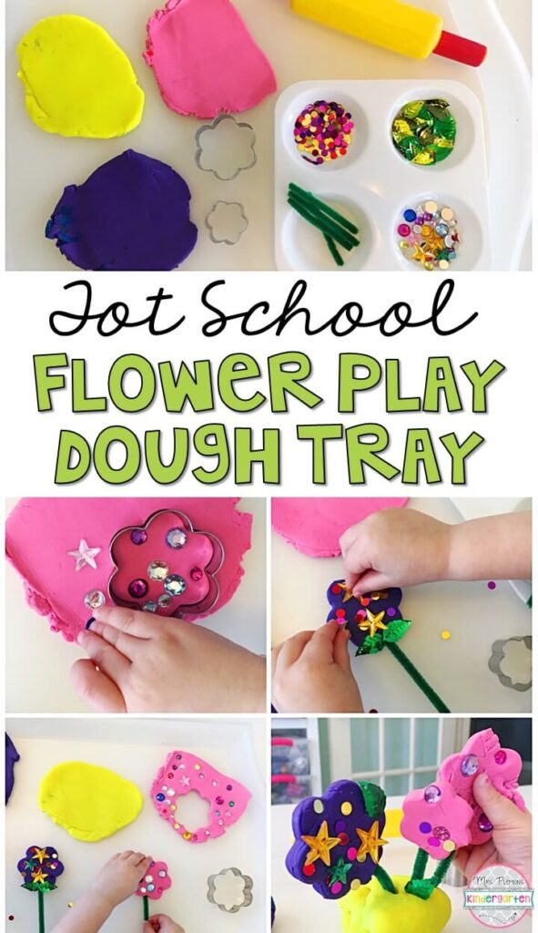 We LOVE this flower play dough tray. Play dough is the perfect sensory and fine motor material to explore! Great for a plant theme in tot school, preschool, or even kindergarten!