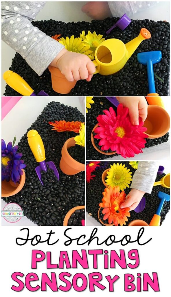 We LOVE this planting sensory bin. So much fun to pretend, play and explore! Great for spring in tot school, preschool, or even kindergarten!