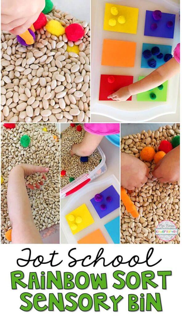 We LOVE this rainbow sort sensory bin. Great for St. Patrick's Day in tot school, preschool, or even kindergarten!